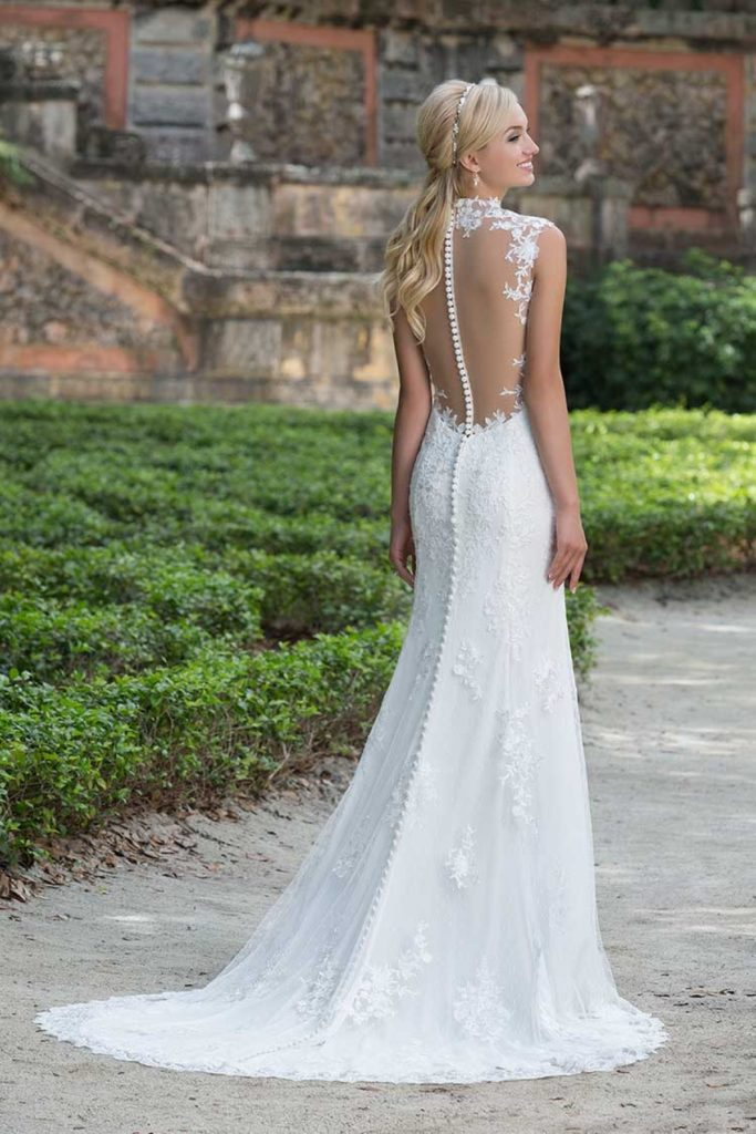 Low Illusion Back Wedding Dress Style 6125 Price : Slim a line lace wedding dress with low illusion back buttons extend