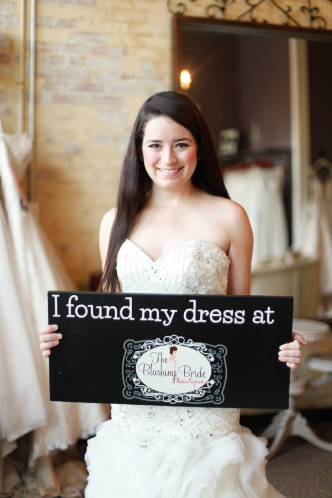 Melinda came all the way from New Mexico to find her Val Stefani Couture wedding gown at The Blushing Bride boutique in Frisco, Texas.