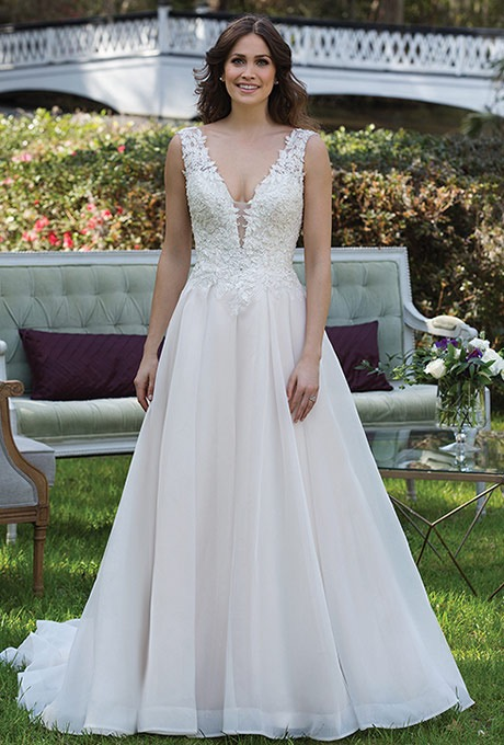 Sincerity Bridal 3941 Lace v neck and english net wedding gown - The Blushing Bride boutique in Frisco, Texas