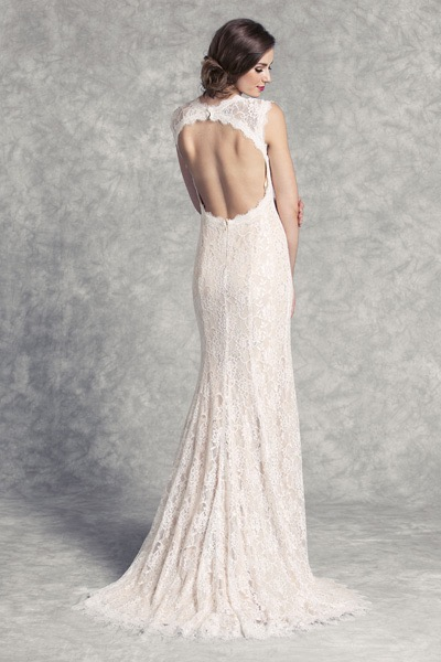 Lace Sheath Dress with Keyhole Back at The Blushing Bride boutique / Off the Rack