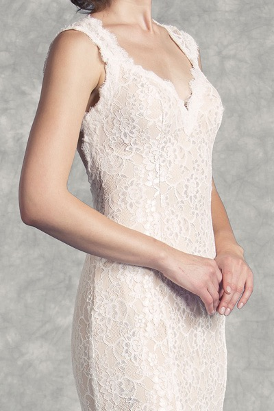 Lace Sheath Wedding Gown with Keyhole Back at The Blushing Bride boutique / Off the Rack