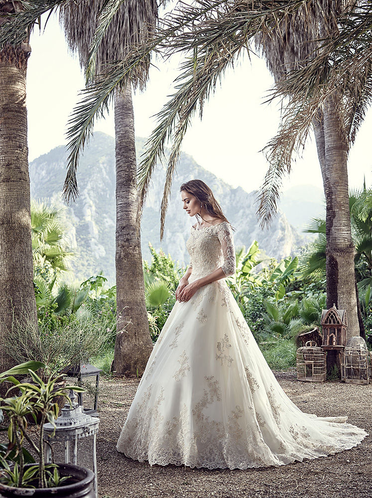 EddyK Dreams Messina - Messina is a classic ballgown with beautiful modern lace, a long train and an off-shoulder sleeve - The Blushing Bride boutique in Frisco, Texas