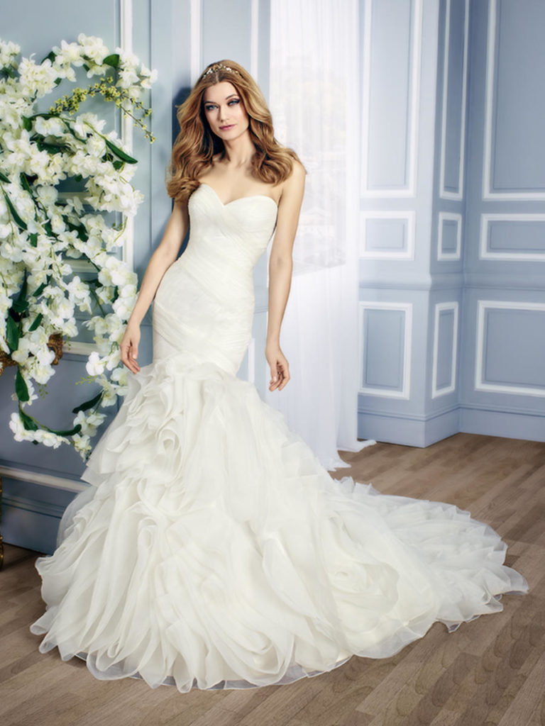 Moonlight J6434 - Glamorous drop waist wedding dress with ruffled skirt - The Blushing Bride boutique in Frisco, Texas