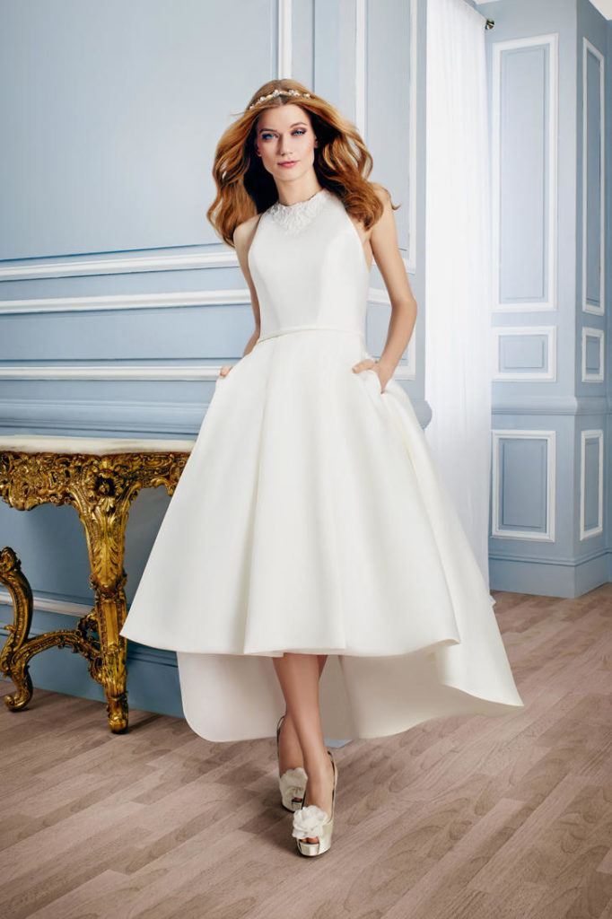 Moonlight T741 High Low Wedding Gown - The Blushing Bride Boutique / Off the Rack