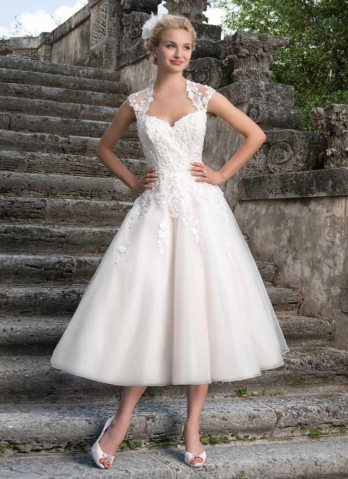 Sincerity 3875 Tea Length Wedding Gown - The Blushing Bride Boutique / Off the Rack