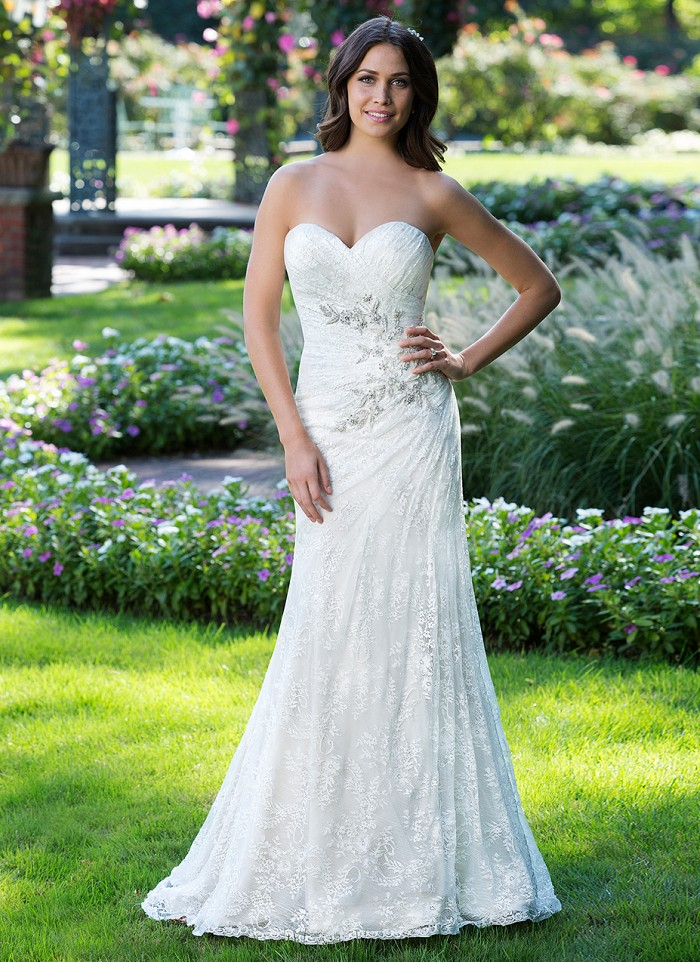 Sincerity Bridal JA 3925 - strapless lace wedding dress, off the rack bridal The Blushing Bride boutique in Frisco, Texas