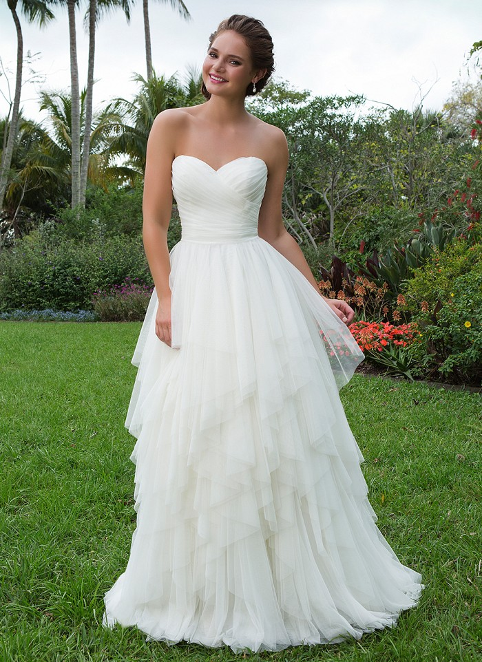 Sweetheart 6119 - t natural waistline and handkerchief layered skirt of English net create this ball gown that is perfect for relaxed, charming brides - The Blushing Bride boutique in Frisco, Texas