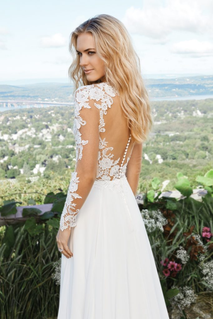 Lillian West Style 6422 long sleeve wedding gown available at The Blushing Bride boutique in Frisco, Texas
