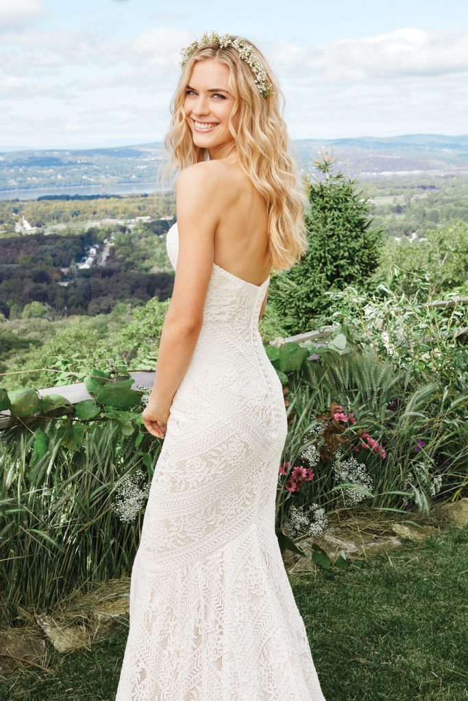 Lillian West Style 6425 strapless lace wedding gown available at The Blushing Bride boutique in Frisco, Texas