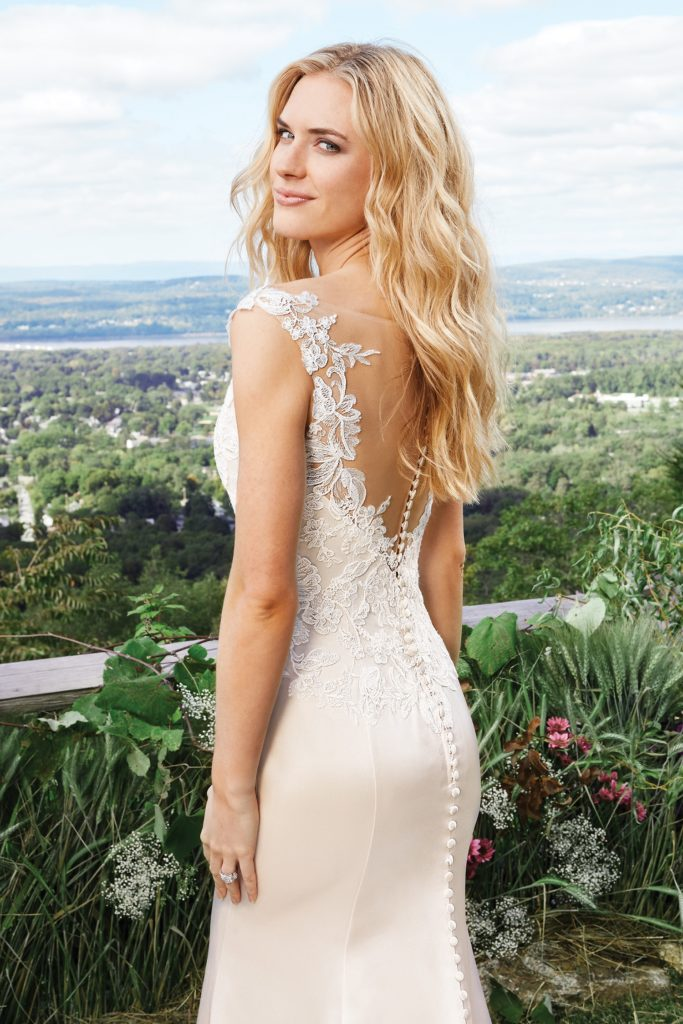 Lillian West Style 6427 lace and satin wedding gown available at The Blushing Bride boutique in Frisco, Texas