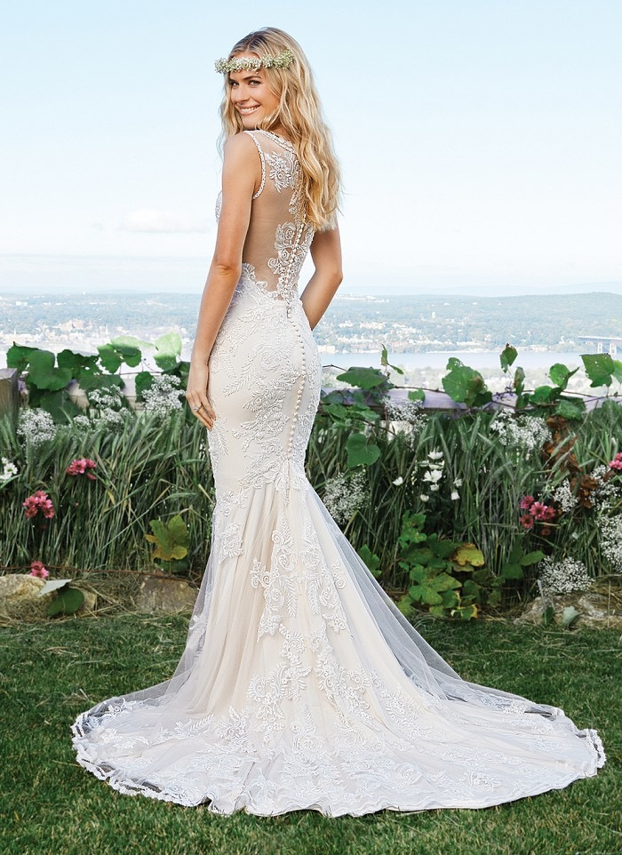 Lillian West Style 6421 Illusion Back lace wedding dress available at The Blushing Bride boutique in Frisco, Texas