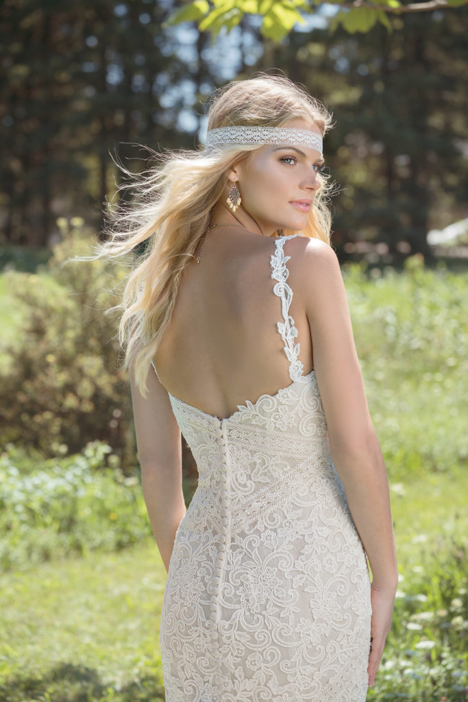 Lillian West 6494 - Cotton lace trims this mermaid style and Venice lace spaghetti straps frame the sweetheart neckline. Illusion Point d'Esprit tulle jets from the fitted bodice and soft lace completes the hem to add a graceful movement to this gown - The Blushing Bride boutique in Frisco, Texas