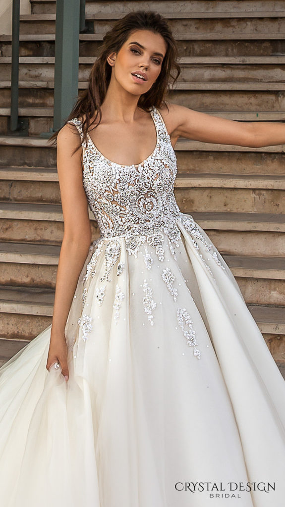 sleeveless-with-strap-scoop-necklne-heavily-embellished-bodice-romantic-a-line-wedding-dress-scoop-back-royal-long-train-carven-The-Blushing-Bride-boutique-Frisco-Texas