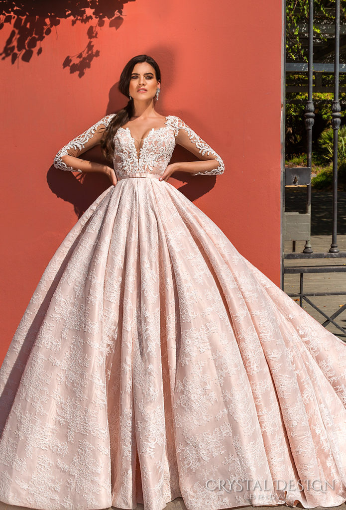 crystal design 2017 Jovana bridal gown long sleeves deep plunging sweetheart neckline heavily embellished bodice lace princess pink - The Blushing Bride boutique in Frisco, Texas