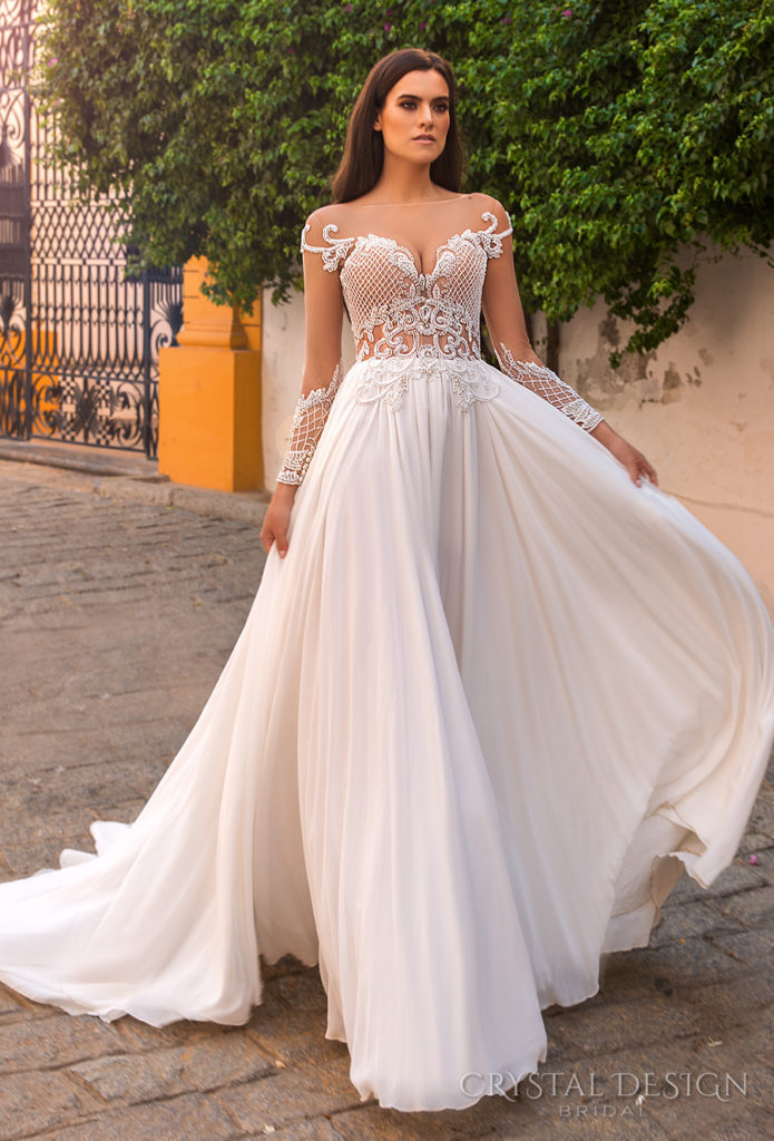 crystal-design-2017-bridal-long-sleeves-illusion-bateau-neckline-heavily-embroidered-bodice-lace-flowy-skirt-romantic-a-line-wedding-dress-open-back-chapel-train-paula-The-Blushing-Bride-boutique-Frisco-Texas
