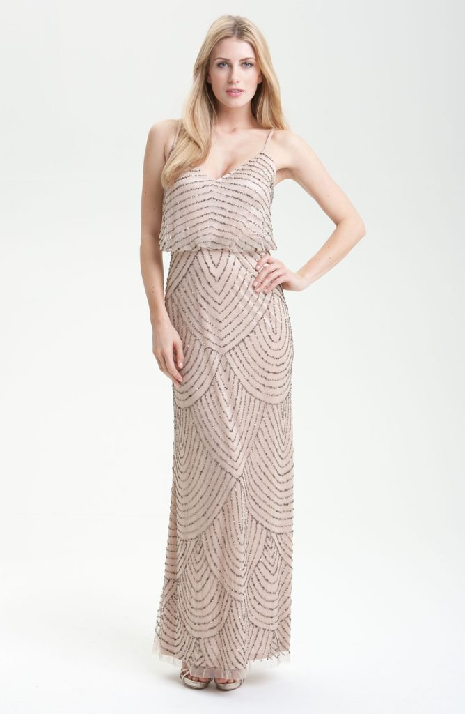 adrianna-papell-091866700 taupe-pink-sequin-gown Off the Rack / Bridesmaids / Special Occasion