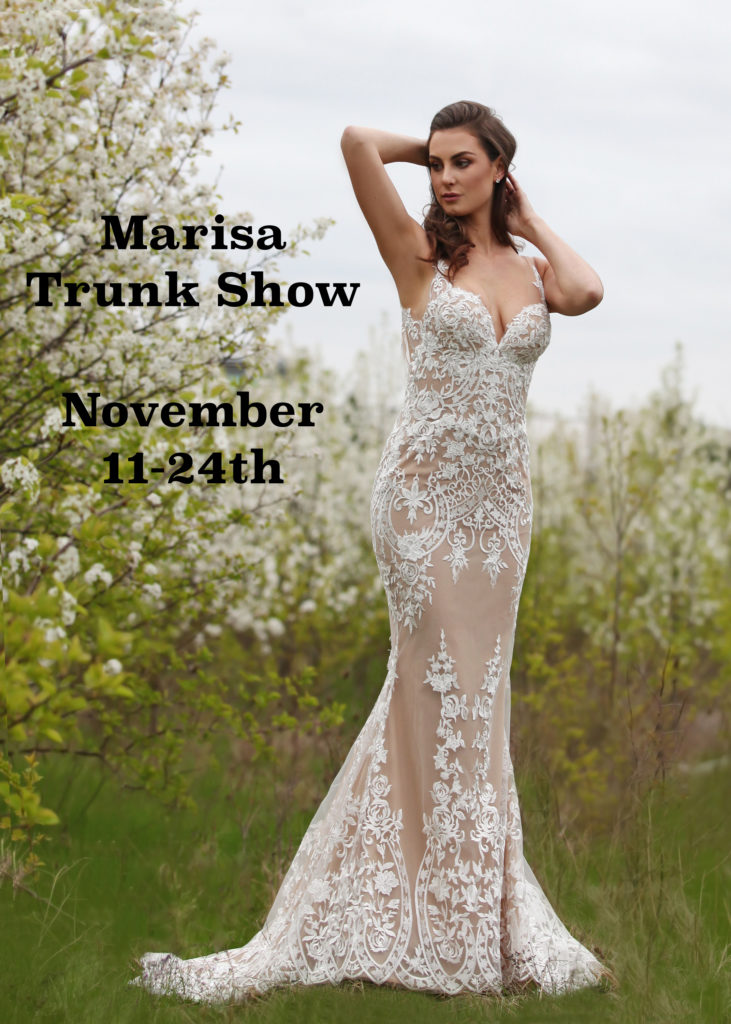 Marisa Bridals Trunk Show at The Blushing Bride boutique November 11-24, 2016.