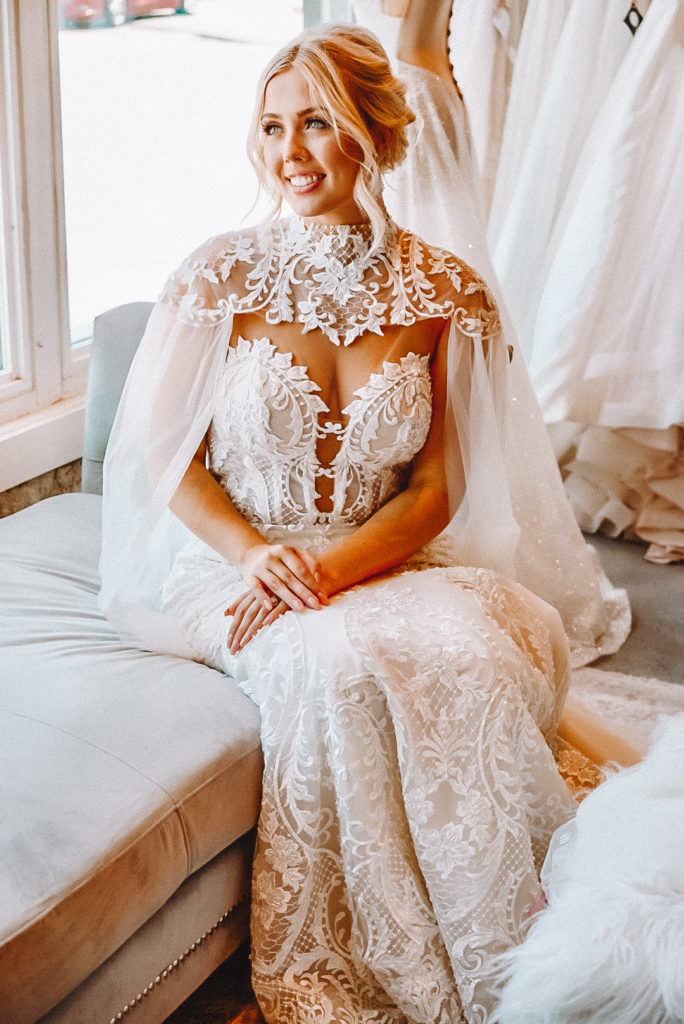 """Crystal Design """"Gia"""" gown with optional Cape ~ The Blushing Bride boutique in Frisco, Texas"""